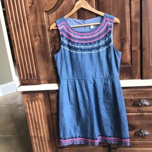 JCrew chambray embroidered dress